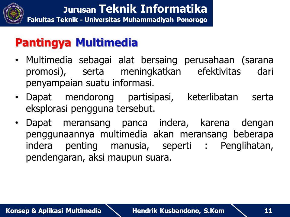 Jurusan Teknik Informatika Fakultas Teknik - Universitas Muhammadiyah Ponorogo Hendrik Kusbandono, S.KomKonsep & Aplikasi Multimedia11 Pantingya Multi