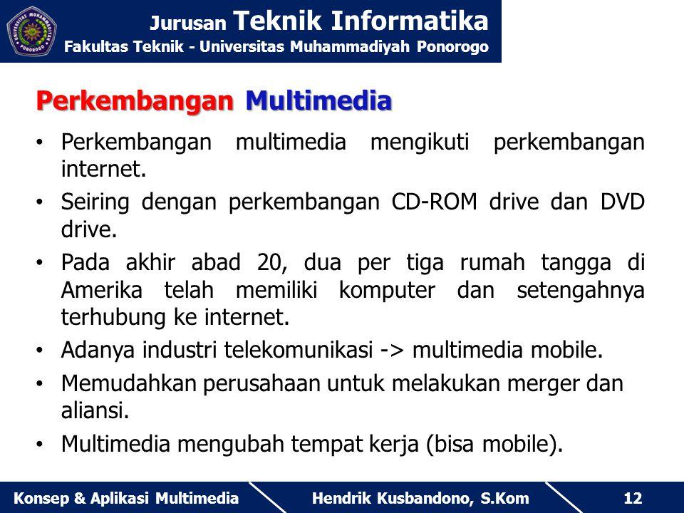 Jurusan Teknik Informatika Fakultas Teknik - Universitas Muhammadiyah Ponorogo Hendrik Kusbandono, S.KomKonsep & Aplikasi Multimedia12 Perkembangan Mu