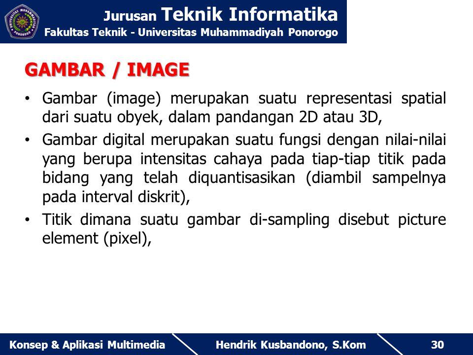 Jurusan Teknik Informatika Fakultas Teknik - Universitas Muhammadiyah Ponorogo Hendrik Kusbandono, S.KomKonsep & Aplikasi Multimedia30 GAMBAR / IMAGE