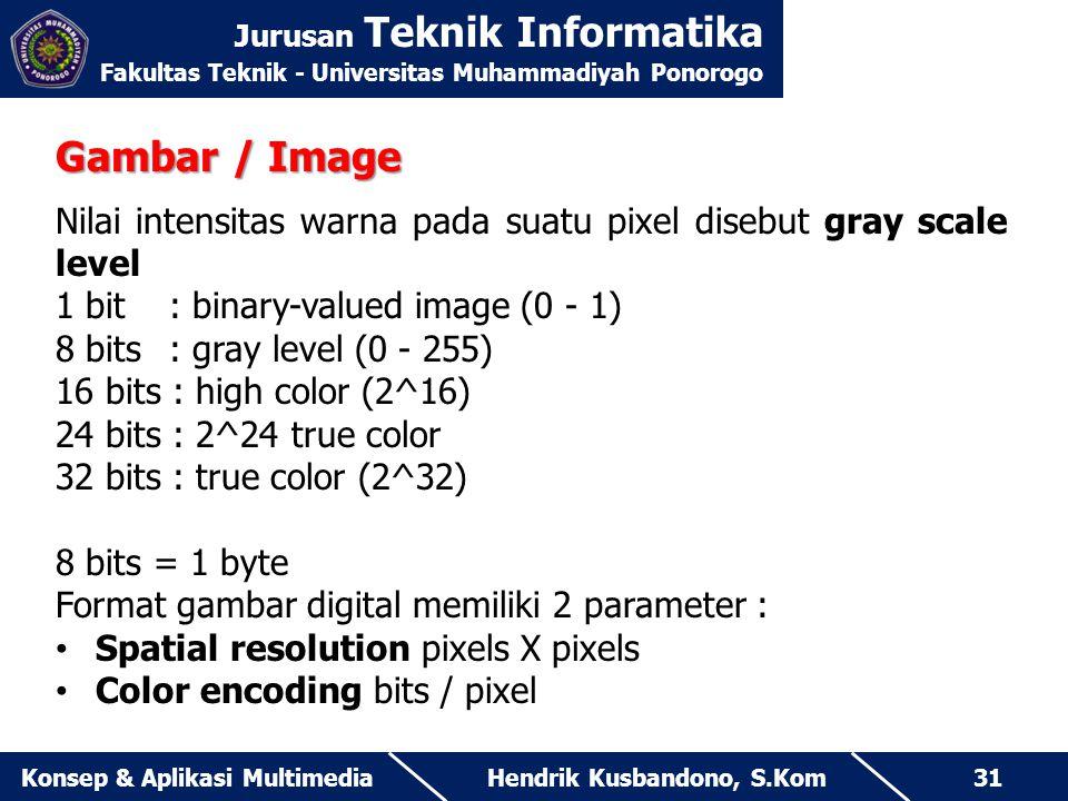 Jurusan Teknik Informatika Fakultas Teknik - Universitas Muhammadiyah Ponorogo Hendrik Kusbandono, S.KomKonsep & Aplikasi Multimedia31 Gambar / Image