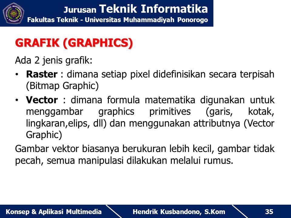 Jurusan Teknik Informatika Fakultas Teknik - Universitas Muhammadiyah Ponorogo Hendrik Kusbandono, S.KomKonsep & Aplikasi Multimedia35 GRAFIK (GRAPHIC