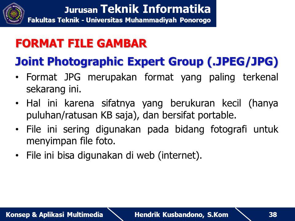 Jurusan Teknik Informatika Fakultas Teknik - Universitas Muhammadiyah Ponorogo Hendrik Kusbandono, S.KomKonsep & Aplikasi Multimedia38 FORMAT FILE GAM