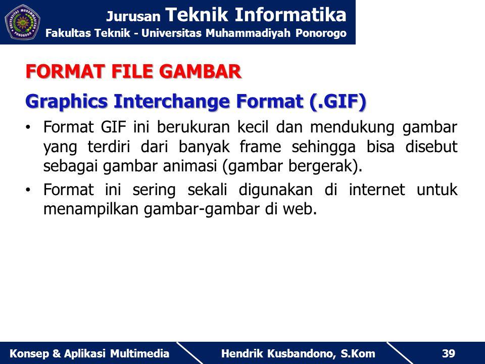 Jurusan Teknik Informatika Fakultas Teknik - Universitas Muhammadiyah Ponorogo Hendrik Kusbandono, S.KomKonsep & Aplikasi Multimedia39 FORMAT FILE GAM