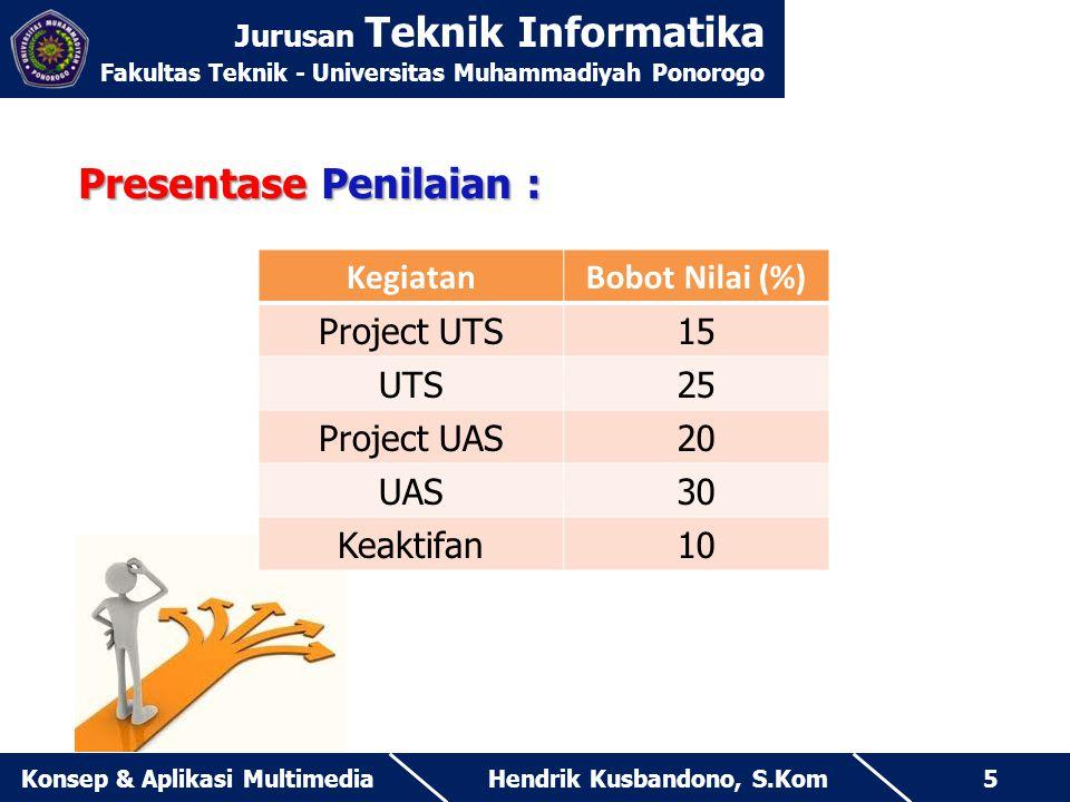 Jurusan Teknik Informatika Fakultas Teknik - Universitas Muhammadiyah Ponorogo Hendrik Kusbandono, S.KomKonsep & Aplikasi Multimedia5 Presentase Penil