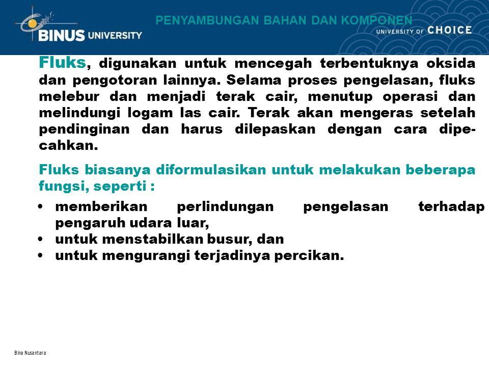 Bina Nusantara Fluks, digunakan untuk mencegah terbentuknya oksida dan pengotoran lainnya.