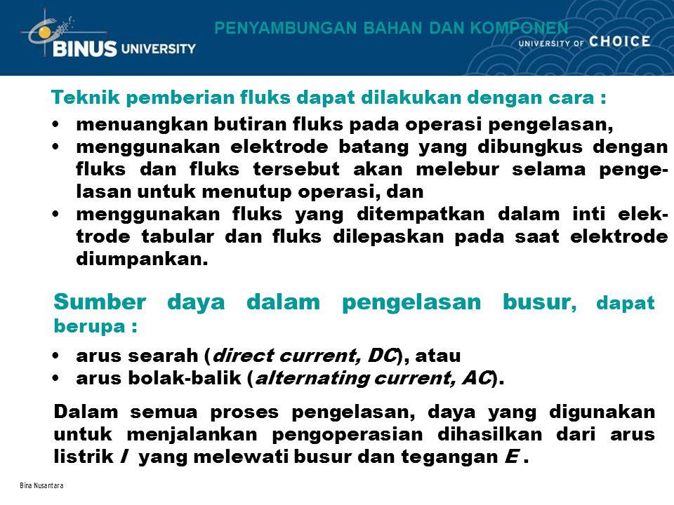 Bina Nusantara Teknik pemberian fluks dapat dilakukan dengan cara : menuangkan butiran fluks pada operasi pengelasan, menggunakan elektrode batang yan