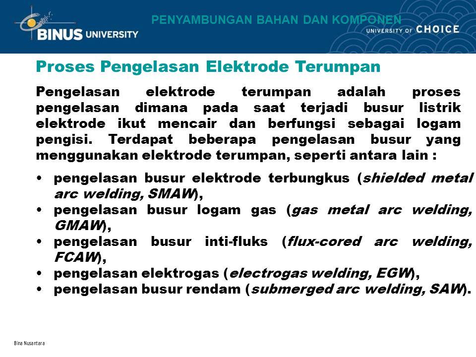Bina Nusantara Proses Pengelasan Elektrode Terumpan Pengelasan elektrode terumpan adalah proses pengelasan dimana pada saat terjadi busur listrik elektrode ikut mencair dan berfungsi sebagai logam pengisi.