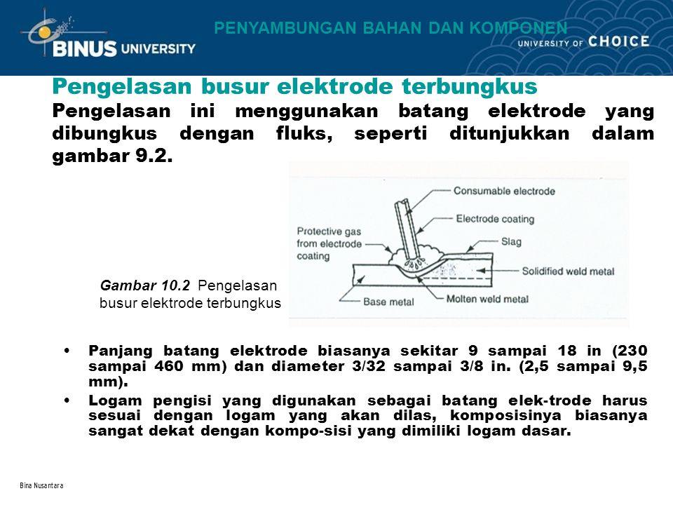Bina Nusantara Panjang batang elektrode biasanya sekitar 9 sampai 18 in (230 sampai 460 mm) dan diameter 3/32 sampai 3/8 in. (2,5 sampai 9,5 mm). Loga