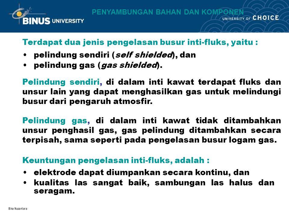 Bina Nusantara Terdapat dua jenis pengelasan busur inti-fluks, yaitu : pelindung sendiri (self shielded), dan pelindung gas (gas shielded). Pelindung