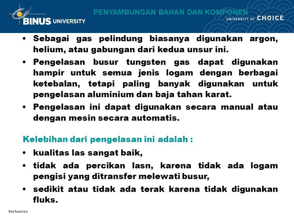 Bina Nusantara Sebagai gas pelindung biasanya digunakan argon, helium, atau gabungan dari kedua unsur ini. Pengelasan busur tungsten gas dapat digunak