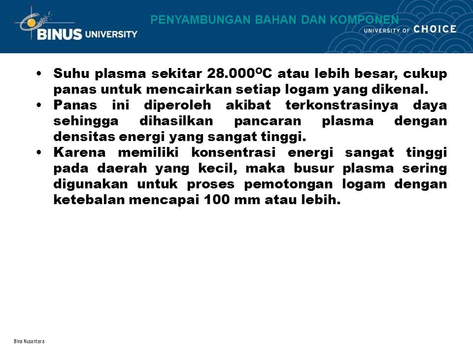 Bina Nusantara Suhu plasma sekitar 28.000 O C atau lebih besar, cukup panas untuk mencairkan setiap logam yang dikenal.