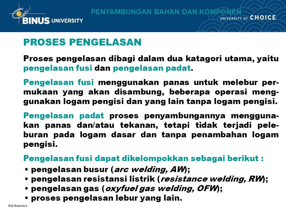 Bina Nusantara PROSES PENGELASAN Proses pengelasan dibagi dalam dua katagori utama, yaitu pengelasan fusi dan pengelasan padat. Pengelasan fusi menggu