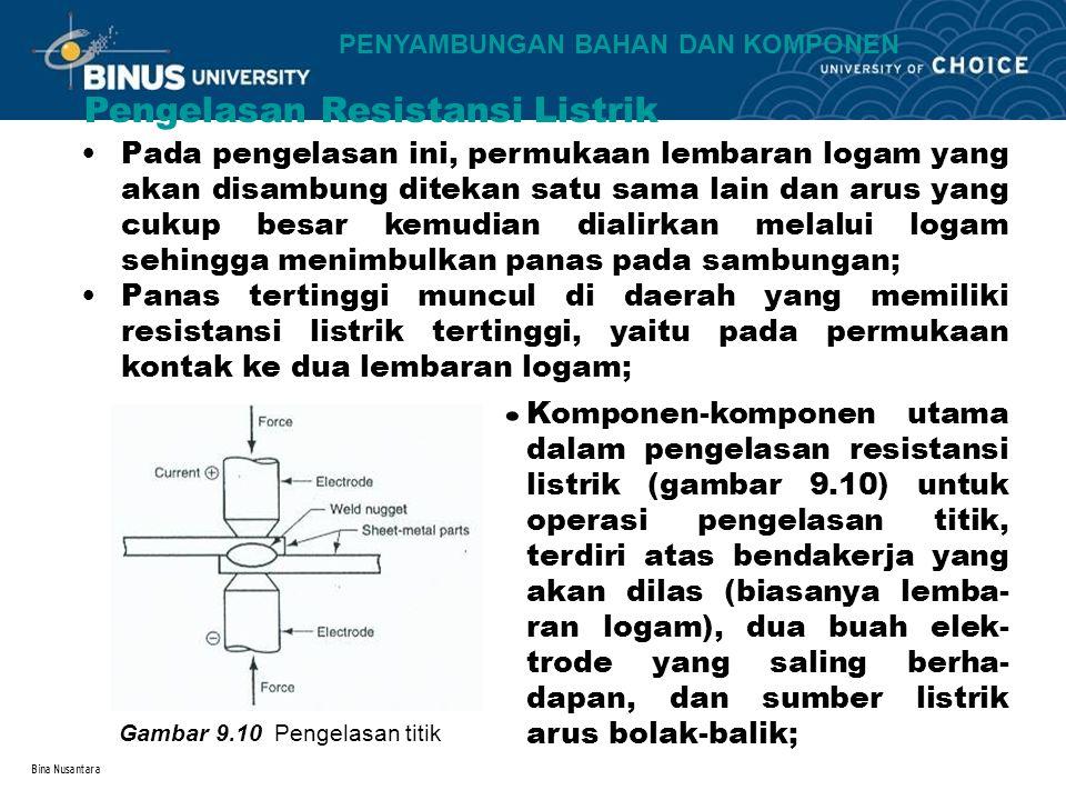 Bina Nusantara Pengelasan Resistansi Listrik Gambar 9.10 Pengelasan titik Pada pengelasan ini, permukaan lembaran logam yang akan disambung ditekan satu sama lain dan arus yang cukup besar kemudian dialirkan melalui logam sehingga menimbulkan panas pada sambungan; Panas tertinggi muncul di daerah yang memiliki resistansi listrik tertinggi, yaitu pada permukaan kontak ke dua lembaran logam; Komponen-komponen utama dalam pengelasan resistansi listrik (gambar 9.10) untuk operasi pengelasan titik, terdiri atas bendakerja yang akan dilas (biasanya lemba- ran logam), dua buah elek- trode yang saling berha- dapan, dan sumber listrik arus bolak-balik;.