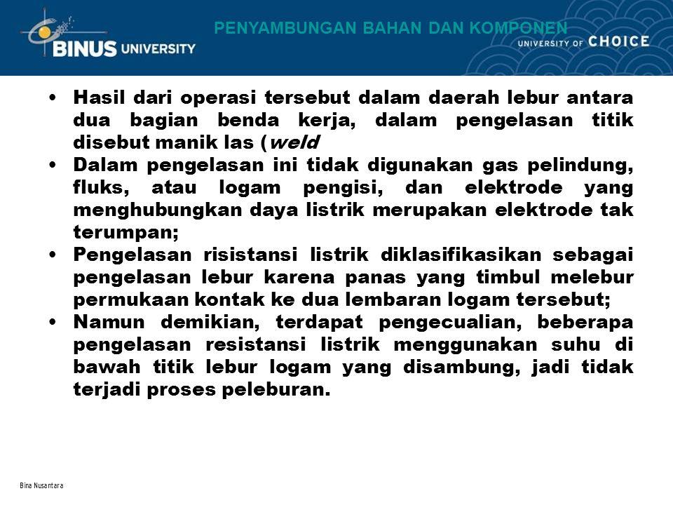 Bina Nusantara Hasil dari operasi tersebut dalam daerah lebur antara dua bagian benda kerja, dalam pengelasan titik disebut manik las (weld Dalam peng