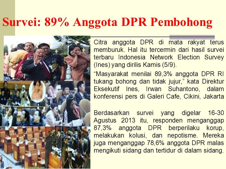Survei: 89% Anggota DPR Pembohong Citra anggota DPR di mata rakyat terus memburuk. Hal itu tercermin dari hasil survei terbaru Indonesia Network Elect