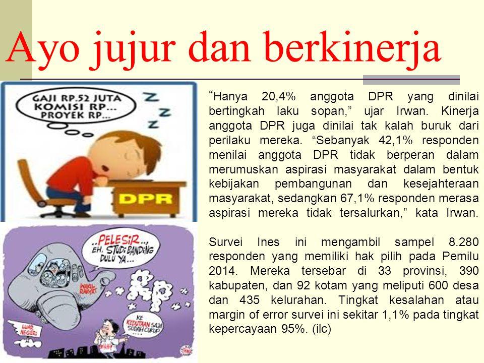 Ayo jujur dan berkinerja Hanya 20,4% anggota DPR yang dinilai bertingkah laku sopan, ujar Irwan.