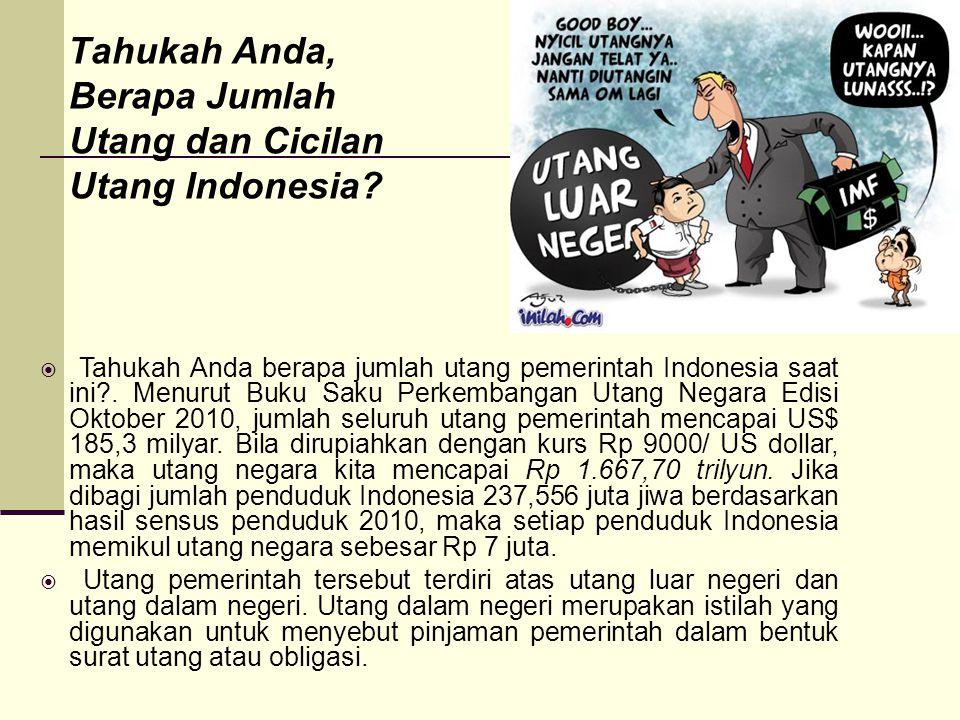 Tahukah Anda, Berapa Jumlah Utang dan Cicilan Utang Indonesia?  Tahukah Anda berapa jumlah utang pemerintah Indonesia saat ini?. Menurut Buku Saku Pe