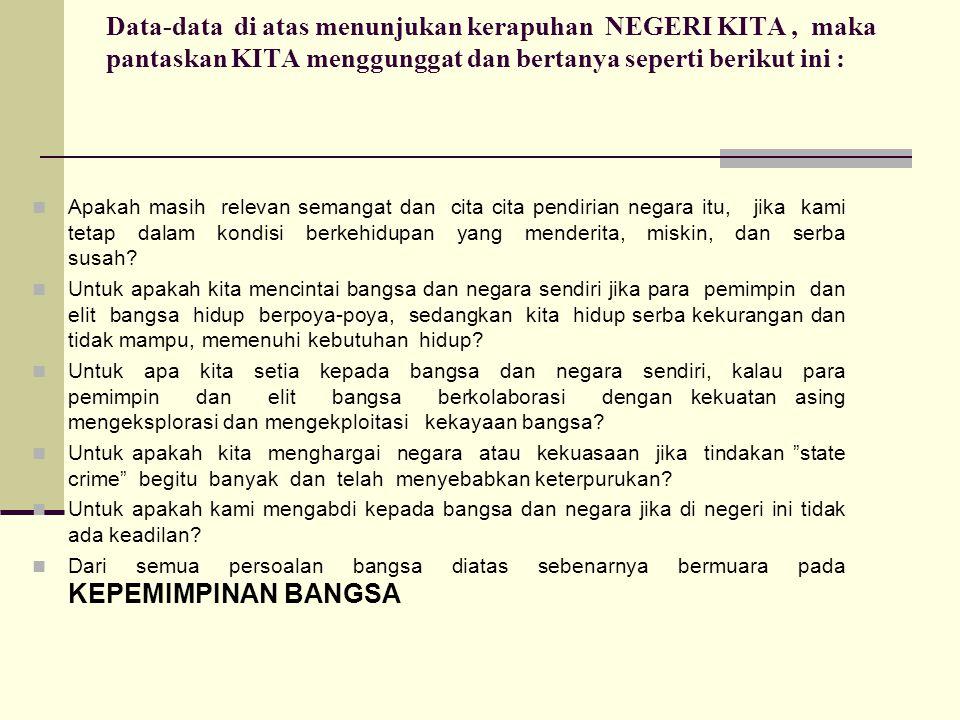Data-data di atas menunjukan kerapuhan NEGERI KITA, maka pantaskan KITA menggunggat dan bertanya seperti berikut ini : Apakah masih relevan semangat d