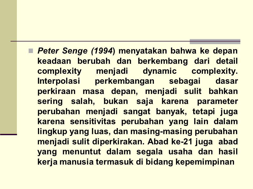 Peter Senge (1994) menyatakan bahwa ke depan keadaan berubah dan berkembang dari detail complexity menjadi dynamic complexity.