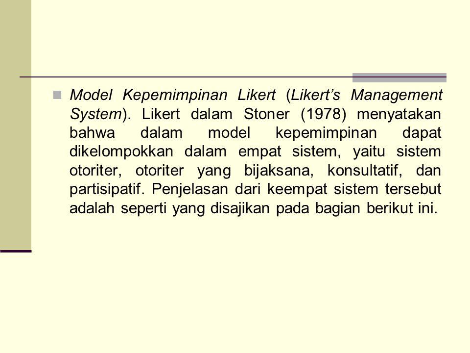 Model Kepemimpinan Likert (Likert's Management System). Likert dalam Stoner (1978) menyatakan bahwa dalam model kepemimpinan dapat dikelompokkan dalam