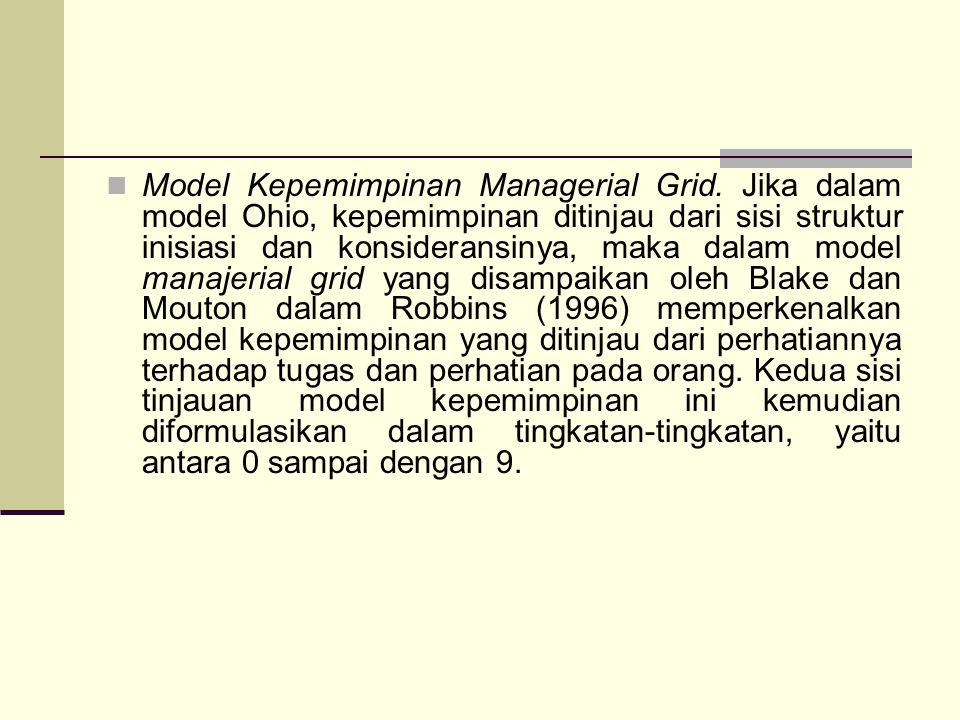Model Kepemimpinan Managerial Grid. Jika dalam model Ohio, kepemimpinan ditinjau dari sisi struktur inisiasi dan konsideransinya, maka dalam model man