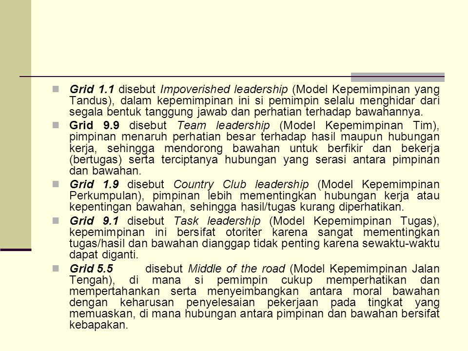 Grid 1.1 disebut Impoverished leadership (Model Kepemimpinan yang Tandus), dalam kepemimpinan ini si pemimpin selalu menghidar dari segala bentuk tang