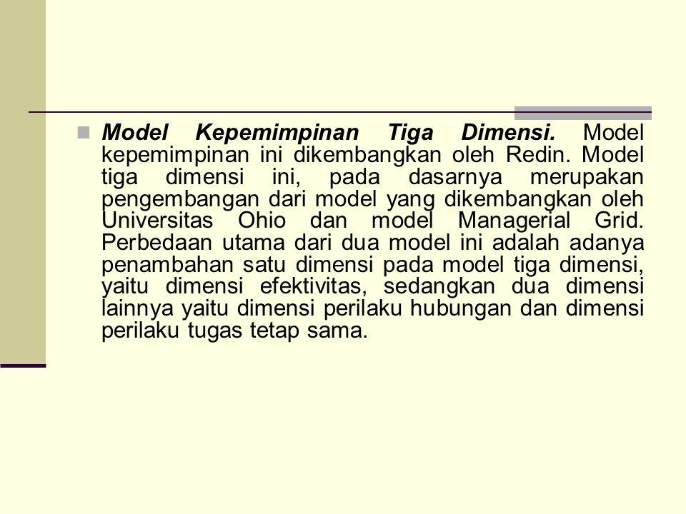 Model Kepemimpinan Tiga Dimensi. Model kepemimpinan ini dikembangkan oleh Redin. Model tiga dimensi ini, pada dasarnya merupakan pengembangan dari mod