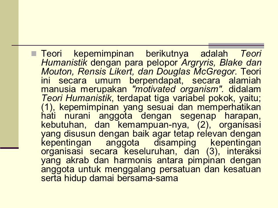 Teori kepemimpinan berikutnya adalah Teori Humanistik dengan para pelopor Argryris, Blake dan Mouton, Rensis Likert, dan Douglas McGregor.