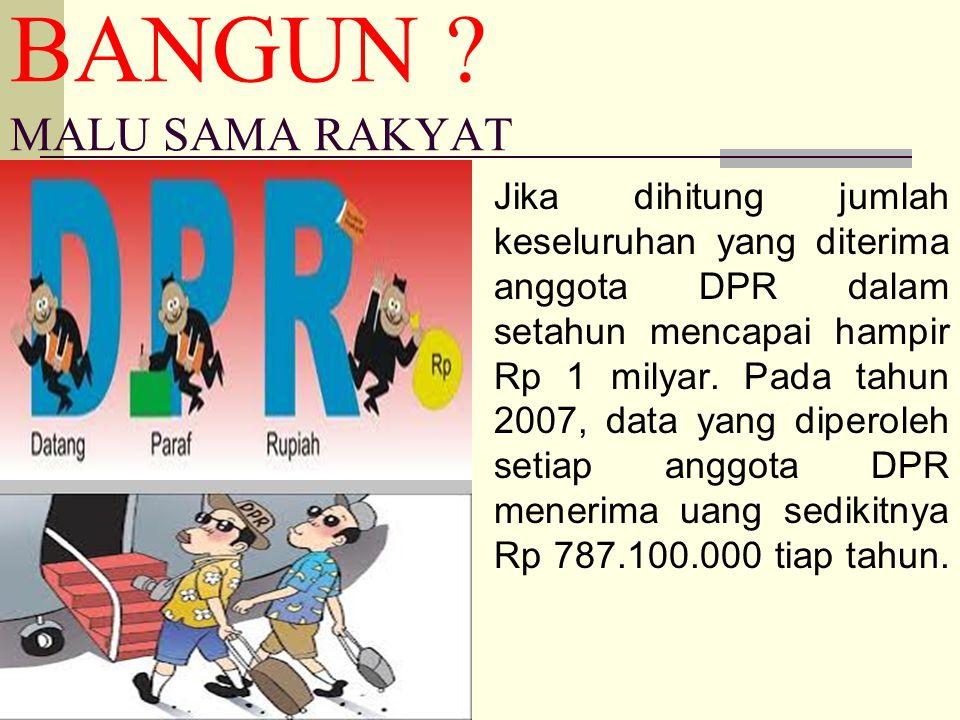 BANGUN ? MALU SAMA RAKYAT Jika dihitung jumlah keseluruhan yang diterima anggota DPR dalam setahun mencapai hampir Rp 1 milyar. Pada tahun 2007, data