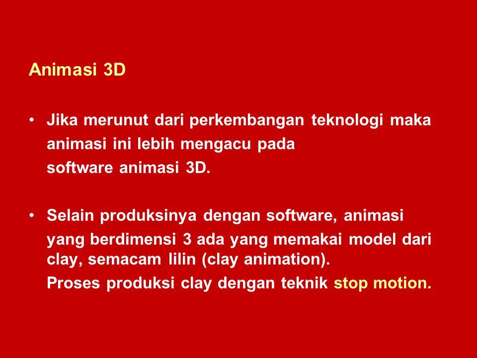 Animasi 3D Jika merunut dari perkembangan teknologi maka animasi ini lebih mengacu pada software animasi 3D. Selain produksinya dengan software, anima