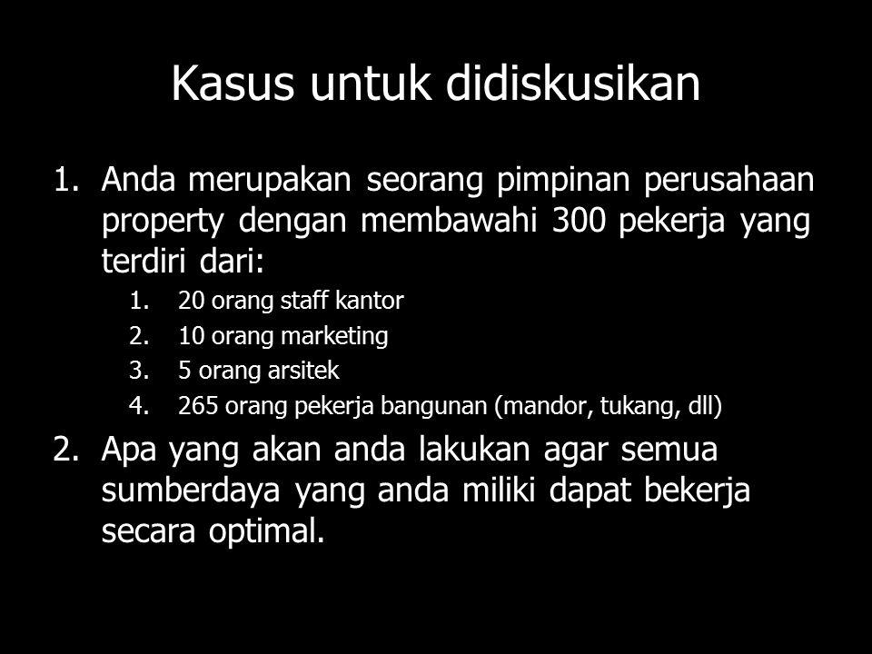Kasus untuk didiskusikan 1.Anda merupakan seorang pimpinan perusahaan property dengan membawahi 300 pekerja yang terdiri dari: 1.20 orang staff kantor