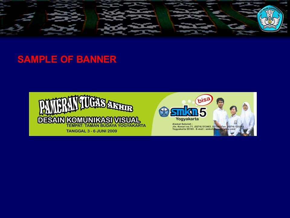 SAMPLE OF BANNER