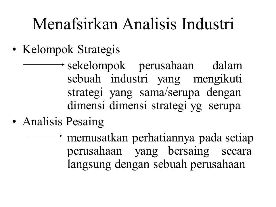 Menafsirkan Analisis Industri Kelompok Strategis sekelompok perusahaan dalam sebuah industri yang mengikuti strategi yang sama/serupa dengan dimensi dimensi strategi yg serupa Analisis Pesaing memusatkan perhatiannya pada setiap perusahaan yang bersaing secara langsung dengan sebuah perusahaan