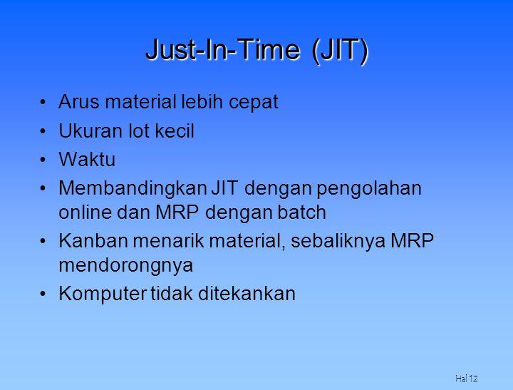 Hal 12 Just-In-Time (JIT) Arus material lebih cepat Ukuran lot kecil Waktu Membandingkan JIT dengan pengolahan online dan MRP dengan batch Kanban mena