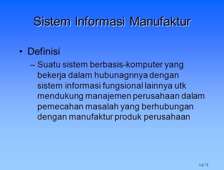 Hal 13 Sistem Informasi Manufaktur Definisi –Suatu sistem berbasis-komputer yang bekerja dalam hubunagnnya dengan sistem informasi fungsional lainnya