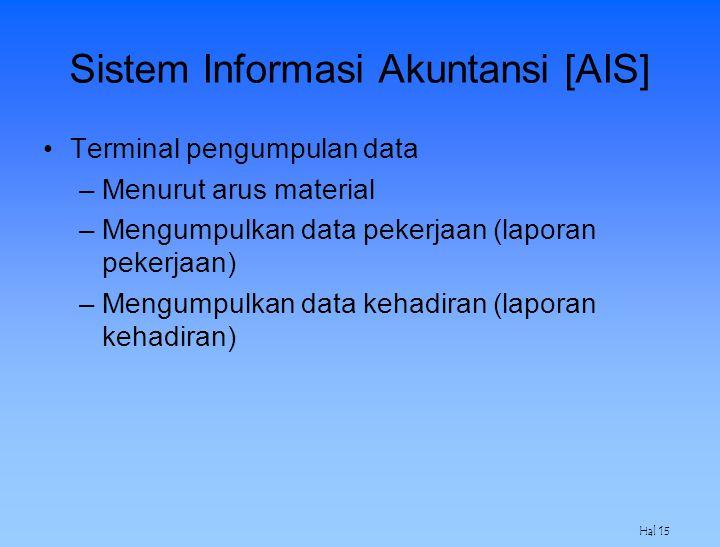 Hal 15 Sistem Informasi Akuntansi [AIS] Terminal pengumpulan data –Menurut arus material –Mengumpulkan data pekerjaan (laporan pekerjaan) –Mengumpulka