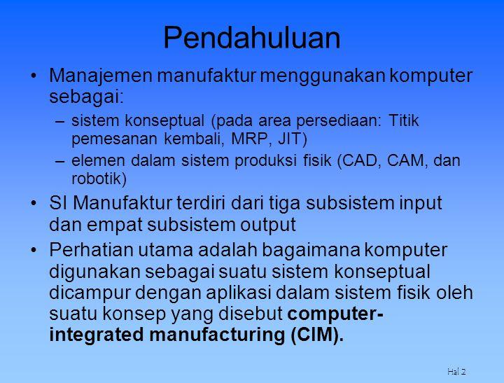 Hal 2 Pendahuluan Manajemen manufaktur menggunakan komputer sebagai: –sistem konseptual (pada area persediaan: Titik pemesanan kembali, MRP, JIT) –ele