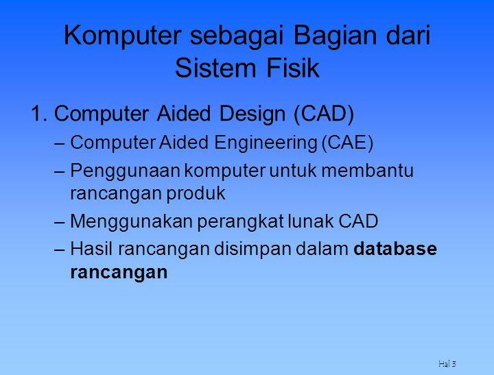 Hal 3 Komputer sebagai Bagian dari Sistem Fisik 1. Computer Aided Design (CAD) –Computer Aided Engineering (CAE) –Penggunaan komputer untuk membantu r