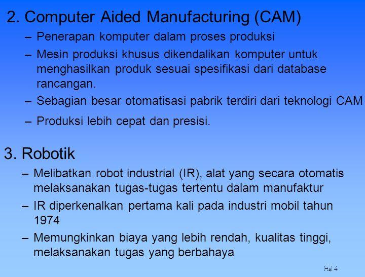 Hal 4 2. Computer Aided Manufacturing (CAM) –Penerapan komputer dalam proses produksi –Mesin produksi khusus dikendalikan komputer untuk menghasilkan