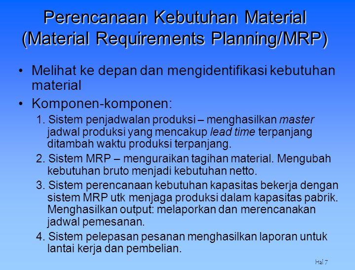 Hal 7 Perencanaan Kebutuhan Material (Material Requirements Planning/MRP) Melihat ke depan dan mengidentifikasi kebutuhan material Komponen-komponen: