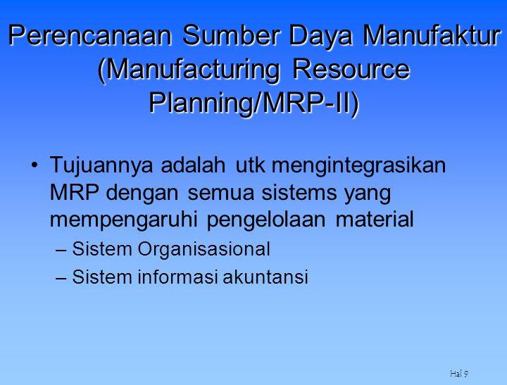 Hal 9 Perencanaan Sumber Daya Manufaktur (Manufacturing Resource Planning/MRP-II) Tujuannya adalah utk mengintegrasikan MRP dengan semua sistems yang
