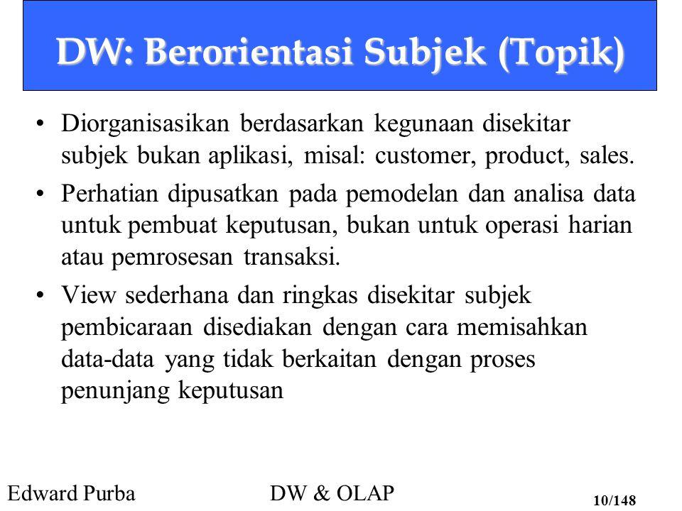 Edward PurbaDW & OLAP 10/148 DW: Berorientasi Subjek (Topik) Diorganisasikan berdasarkan kegunaan disekitar subjek bukan aplikasi, misal: customer, pr