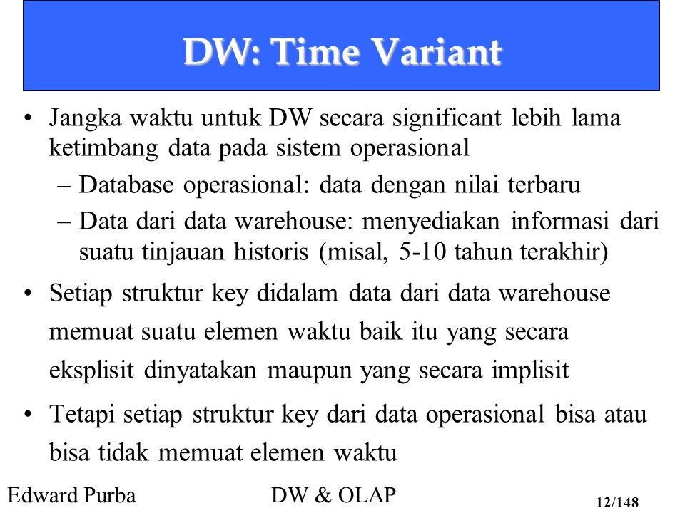Edward PurbaDW & OLAP 12/148 DW: Time Variant Jangka waktu untuk DW secara significant lebih lama ketimbang data pada sistem operasional –Database ope