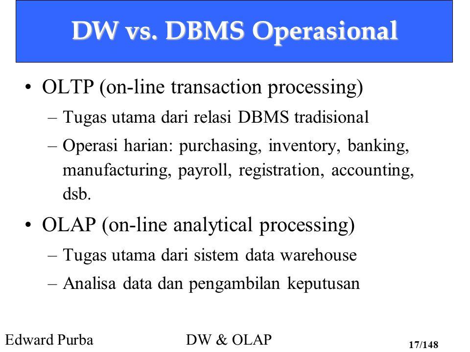Edward PurbaDW & OLAP 17/148 DW vs. DBMS Operasional OLTP (on-line transaction processing) –Tugas utama dari relasi DBMS tradisional –Operasi harian: