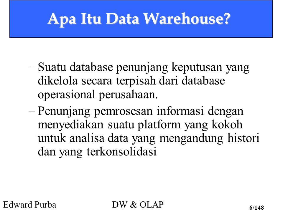Edward PurbaDW & OLAP 6/148 Apa Itu Data Warehouse? –Suatu database penunjang keputusan yang dikelola secara terpisah dari database operasional perusa