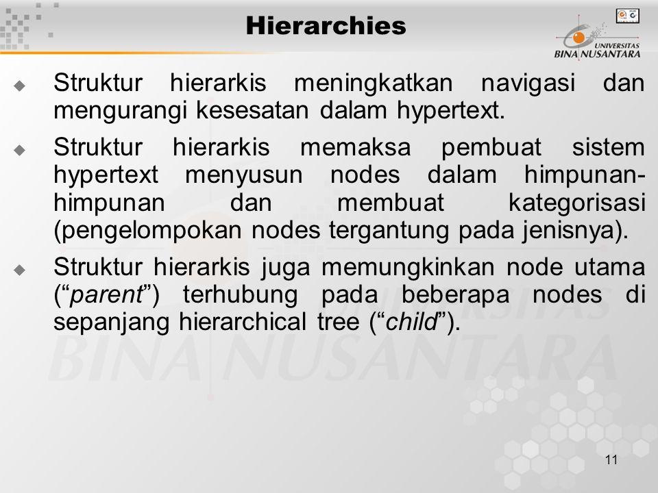 11 Hierarchies  Struktur hierarkis meningkatkan navigasi dan mengurangi kesesatan dalam hypertext.