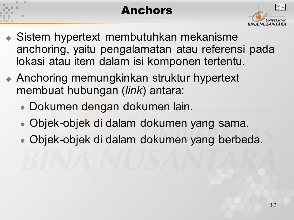 12 Anchors  Sistem hypertext membutuhkan mekanisme anchoring, yaitu pengalamatan atau referensi pada lokasi atau item dalam isi komponen tertentu.