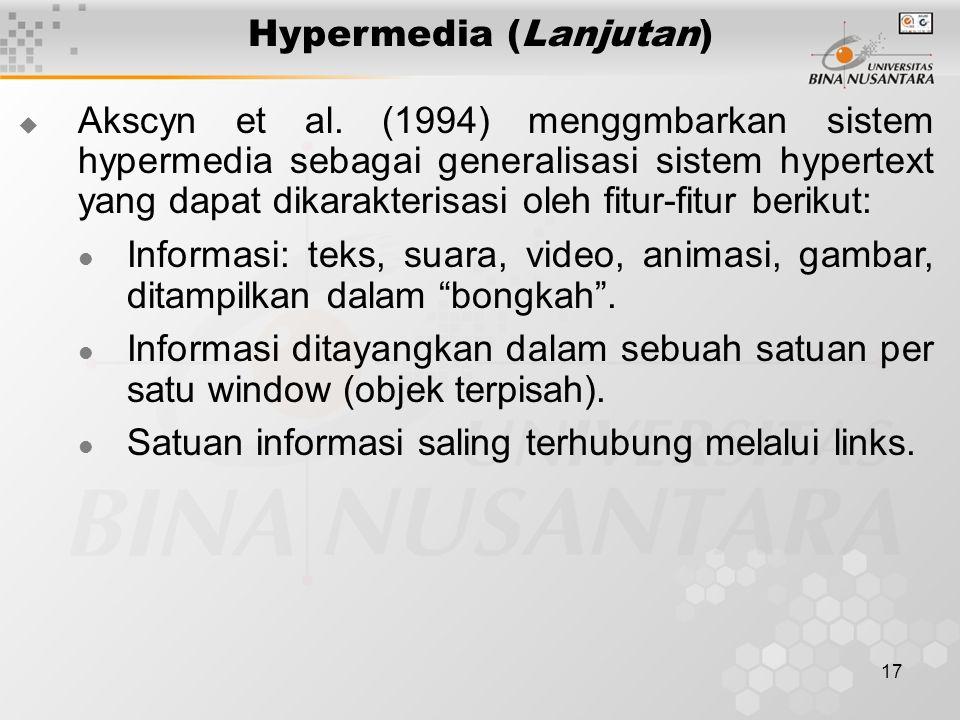 17 Hypermedia (Lanjutan)  Akscyn et al.