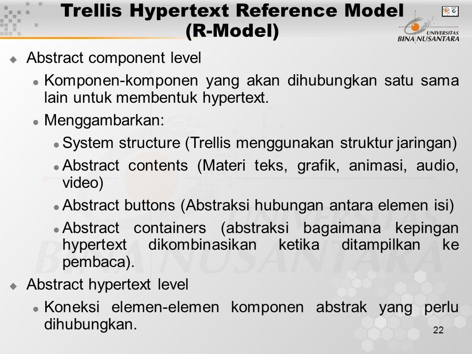 22 Trellis Hypertext Reference Model (R-Model)  Abstract component level Komponen-komponen yang akan dihubungkan satu sama lain untuk membentuk hypertext.