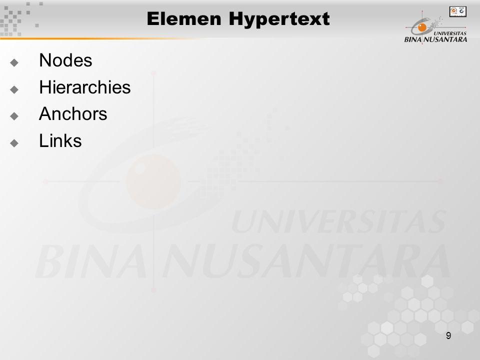 10 Nodes  Menyimpan informasi lengkap sistem dan menampilkannya kepada pemakai, dapat berisi beragam informasi seperti teks dan grafik.